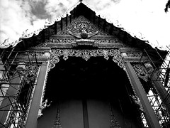 Chinese Temple (Sammy Fernald) Tags: china sky white black bird art architecture temple gold nikon artist scaffolding doors artistic buddha buddhist chinese symmetry architect pheonix