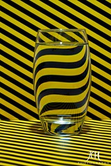 Distortion (109/365) (Jchales.co.uk) Tags: distortion black water glass lines yellow project 50mm day colours vibrant stripes days 365 straight 109 wavey canonef50mmf18ii