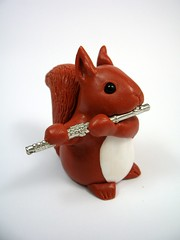 Squirrel playing flute (Quernus Crafts) Tags: cute squirrel flute polymerclay redsquirrel quernuscrafts