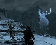 2012-03-20_00002 - The White Stag from I'll Met By Moonlight (tend2it) Tags: white game beautiful by fire pc screenshot frost stag dragon view shot character xbox battle ill v rpg elder moonlight met breathing scrolls ps3 skyrim tesv