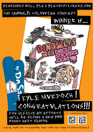 Dinosaurs Will Die Coloring Contest Winner!!! by diecutstickers.com