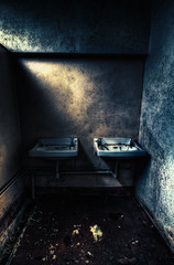 Please Wash Your Hands (murphyz) Tags: light shadow abandoned bathroom decay urbanexploration derelict sinks urbex