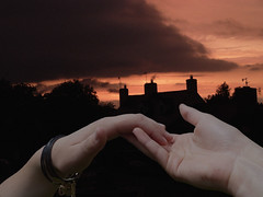 reach out, reach for my hand. (and the bird took flight...) Tags: two sky silhouette holding hands village reaching faith overlay backdrop layers