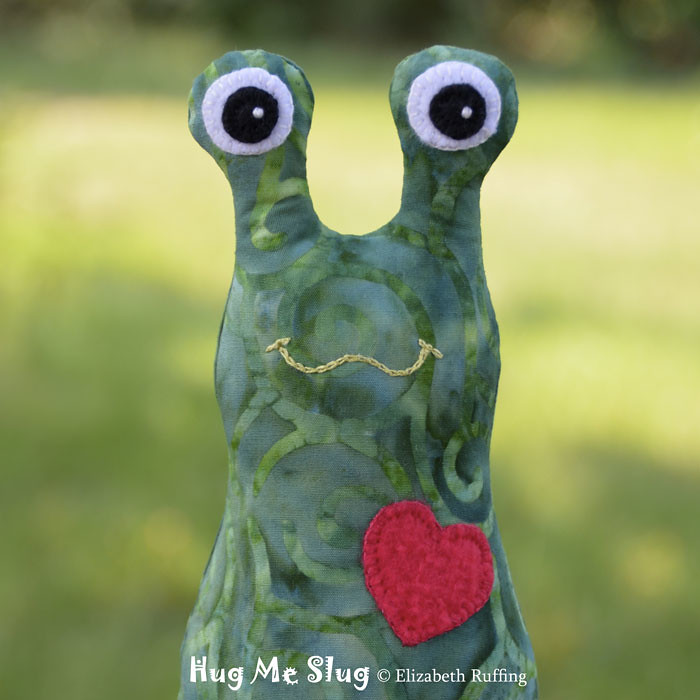 Green Batik Hug Me Slug Art Toy by Elizabeth Ruffing