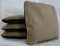Beige & Black Suede Dual Sided Cornhole Bags