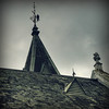 Bird on a Spire. (syam C) Tags: roof sky bird church grey moss decoration australia victoria steeple spire tiles lichen slate vignette hdr camberwell finial photoshopelements photomatix canona710 coffeeshopaction ~api~~ butterscotchvintage