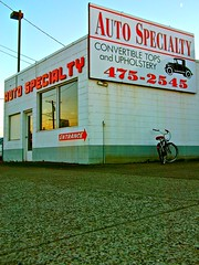 Auto Specialty shop () Tags: auto windows sunset classic beach car bike bicycle shop corner vintage entropy photo washington automobile state pacific northwest image picture neighborhood photograph repair vehicle restoration arrow local roadside custom tops cruiser inc convertibles windshields upholstery speciality issue1upm