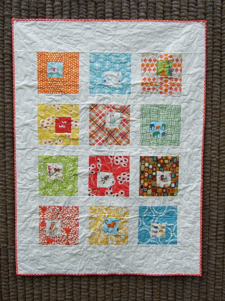 square in square baby quilt