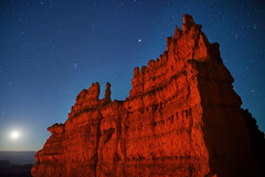 "Moonrise at 'The Fortress' - Bryce Canyon (IronRodArt - Royce Bair (""Star Shooter"")) Tags: park sky moon southwest rock night stars evening twilight sandstone dusk canyon astro erosion formation national moonrise astrophotography bryce astronomy brycecanyon starry astrology constellation geological brycecanyonnationalpark wondersofnature"