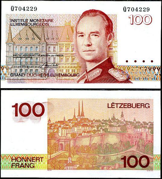 100 Frankov Luxembursko 1986, Pick 58