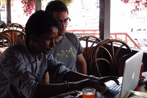 Corey Black, training JMC journalist Mahesh Khati in Pokhara