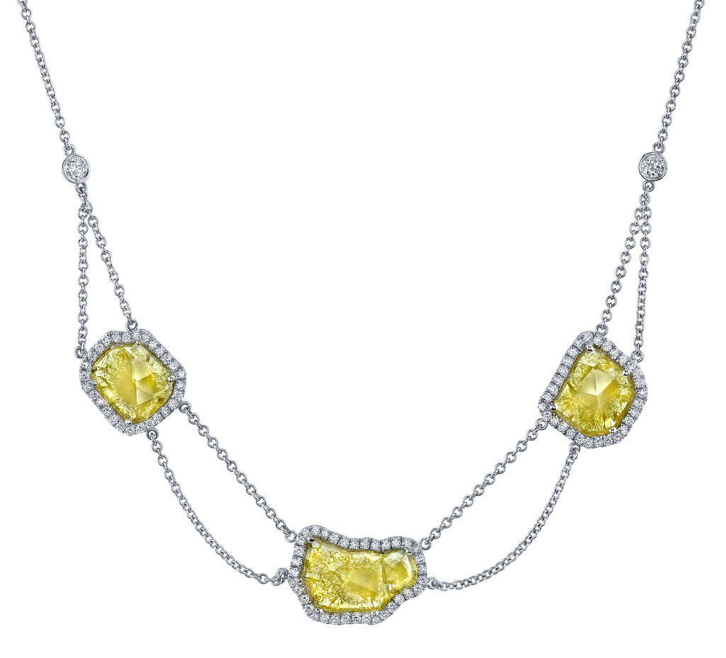 Natural Yellow Slice Diamond Necklace