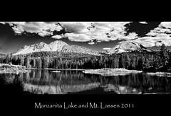 Manzanita Lake and Lassen bw (Michael Gianni Photography) Tags: bw lake reflection mount alpine lassen manzanita