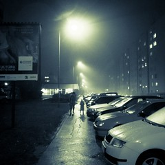 Out in the foggy and rainy night ! (Gilderic Photography) Tags: street city winter people urban woman mist cinema cold cars girl rain silhouette fog mystery night dark square lumix lights raw mood shadows darkness hiver femme perspective pluie halo panasonic story lumiere slovensko slovakia cinematic rue nuit fille bratislava brouillard brume voitures lumieres trottoir lightroom carre 500x500 slovaquie gilderic lx3 dmclx3