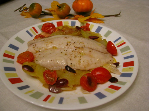 Roasted Tilapia with Potatoes, Tomatoes and Olives