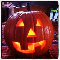 Jack O Lantern carved. #halloween