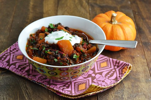 chili, black bean, butternut squash, swiss chard, stew