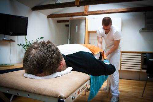 Simon getting his massage on by flattrcom, on Flickr