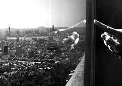 Point (AngelK32) Tags: blackandwhite reflection asia cityscape highcontrast korea lookout seoul namsan 24mmf28d pointingfingers nikond90