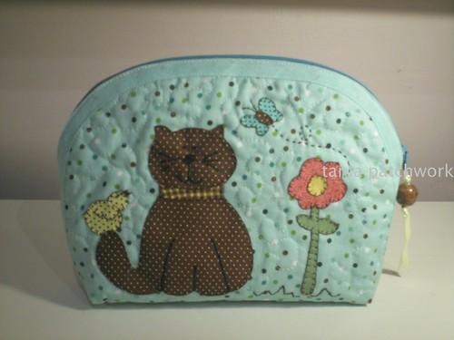 Necessaire M Gatinho e Flor by tania patchwork