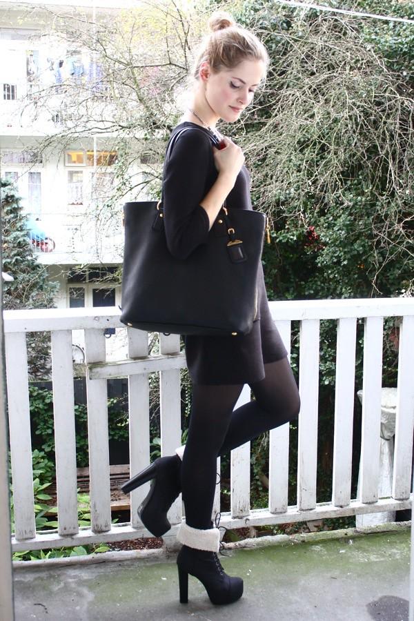 renee sturme fashionfillers blog chanel black dress prada bag boots
