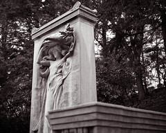 The Melvin Memorial (Peter E. Lee) Tags: new autumn england blackandwhite sculpture fall monument wet graveyard rain statue stone ma massachusetts cemetary newengland civilwar classical concord danielchesterfrench sleepyhollowcemetery 2011 mourningvictory jamesmelvin melvinmemorial