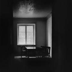 """""""empty table & chairs"""" (helmet13) Tags: bw window table chair raw desk silence simplicity emptiness studies sealing desolation trepidation emptyhouse 100faves d700 world100f"""