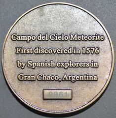 Meteorite Campo del Cielo reverse