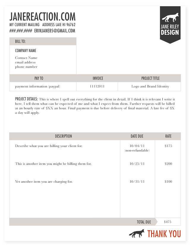 jane reaction, Invoice templates