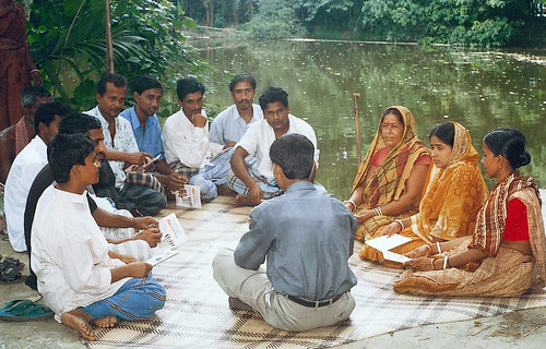 Farmers meeting by a pond, Bangladesh. Photo by WorldFish, 2008