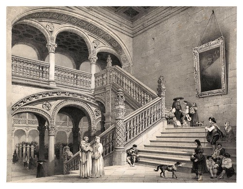 009-Escalera del Hospital de la Sta. Cruz en Toledo-España artística y monumental..Tomo I- 1842-1850-Genaro Perez de Villa-Amil