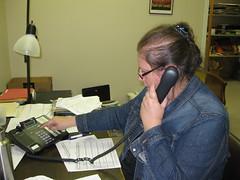 Lisa Harrington making phone calls at Berea office November 3rd, 2011