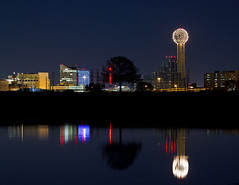Reunion Tower (WarEagle8608) Tags: park urban lake reflection building tower reunion skyline night skyscraper dallas pond cityscape texas tx clear crow reuniontower dallasskyline clearnight trammell dallasatnight trammellcrowlake eoskissx4 canoneos550d eos550d canoneosrebelt2i rebelt2i canoneoskissx4 eosrebelt2i