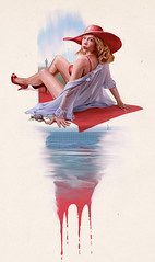 Standon Calling (THE RED DRESS) Tags: woman illustration advertising retro digitalpainting pulpfiction pinup thereddress standoncalling