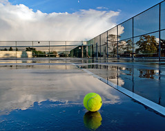 Wet Court (Christopher J. Morley) Tags: blue autumn sky cloud white reflection vancouver ball court puddle explore tennis queenelizabethpark 2011 wetpants ithoughttheballwasreallyclean consideringitwassuchawetcourt hmmmaybethewatercleanedit