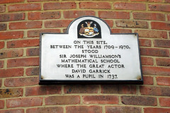 Photo of Williamson's Mathematical School , Sir Joseph Williamson, and David Garrick white plaque