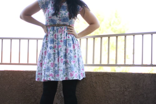 thrifted floral dress.