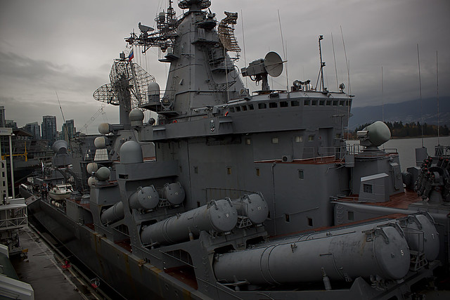 Russian guided missile cruiser Varyag and tanker Irkut