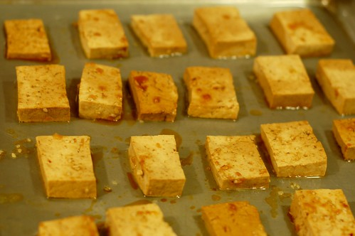 Tofu squares heading into the oven by Eve Fox, Garden of Eating blog, copyright 2011