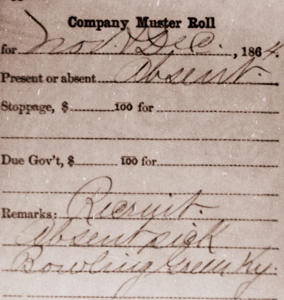 Lewis Stewart Civil War Muster Roll