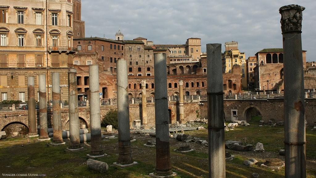 Colonnes de la Basilique Ulpia, la plus grande des basiliques Romaines, chef d'œuvre de l'architecte préféré de Trajan, Apollodore de Damas.
