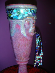 Beaded Face Vase (norbertchi) Tags: blue face ceramic mosaic turquoise vase pottery bead beaded garnet dichroic