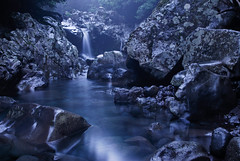 Donaeko in Moonlight (DMac 5D Mark II) Tags: camera longexposure travel moon heritage tourism nature river lens landscape island evening waterfall nikon rocks stream natural south korea valley moonlight lordoftherings d200 jeju lunar reviews fredmiranda wwwfredmirandacom doubleniceshot tripleniceshot mygearandme mygearandmepremium mygearandmebronze mygearandmesilver mygearandmegold mygearandmeplatinum instagram donaeko hennethannn