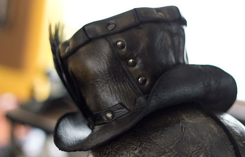 Black Leather Handmade Mini Top Hat