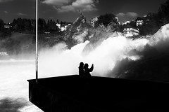 click click @ rhine falls . switzerland (Toni_V) Tags: bw monochrome schweiz switzerland blackwhite waterfall europe suisse wasserfall rangefinder schaffhausen laufen rheinfall rhinefalls 2011 sep2 myswitzerland niksoftware 35lux 111014 toniv leicam9 mygearandme l1005170