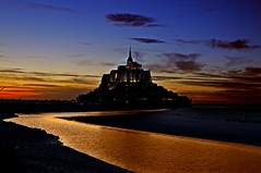 River of Gold (Shertila Tony) Tags: sunset sky france water river golden europe dusk normandy lastnight montsaintmichel lastlight monastry mygearandme flickrstruereflection1