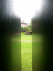 hikki (WiffleHat) Tags: white black green art grass metal reflections washington university western bellingham wa