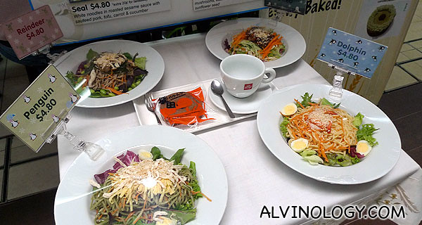 Display samples of the noodle items