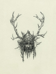 Shaman Mask (Yaroslav Gerzhedovich) Tags: bw ink artwork mask head drawing horn ornate shaman pagan headdress
