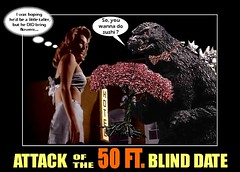 """Godzilla and The Fifty Foot Woman in """"Attack of the 50 FT. Blind Date"""" (DarkJediKnight) Tags: woman poster foot humor fake godzilla parody ft spoof 50 fifty attackofthe allisonhayes"""